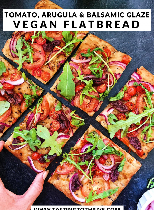 Tomato, Balsamic and Pickled Red Onion Vegan Pizza Flatbread