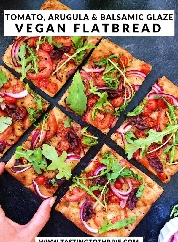 Tomato, Arugula and Balsamic Vegan Pizza Flatbread